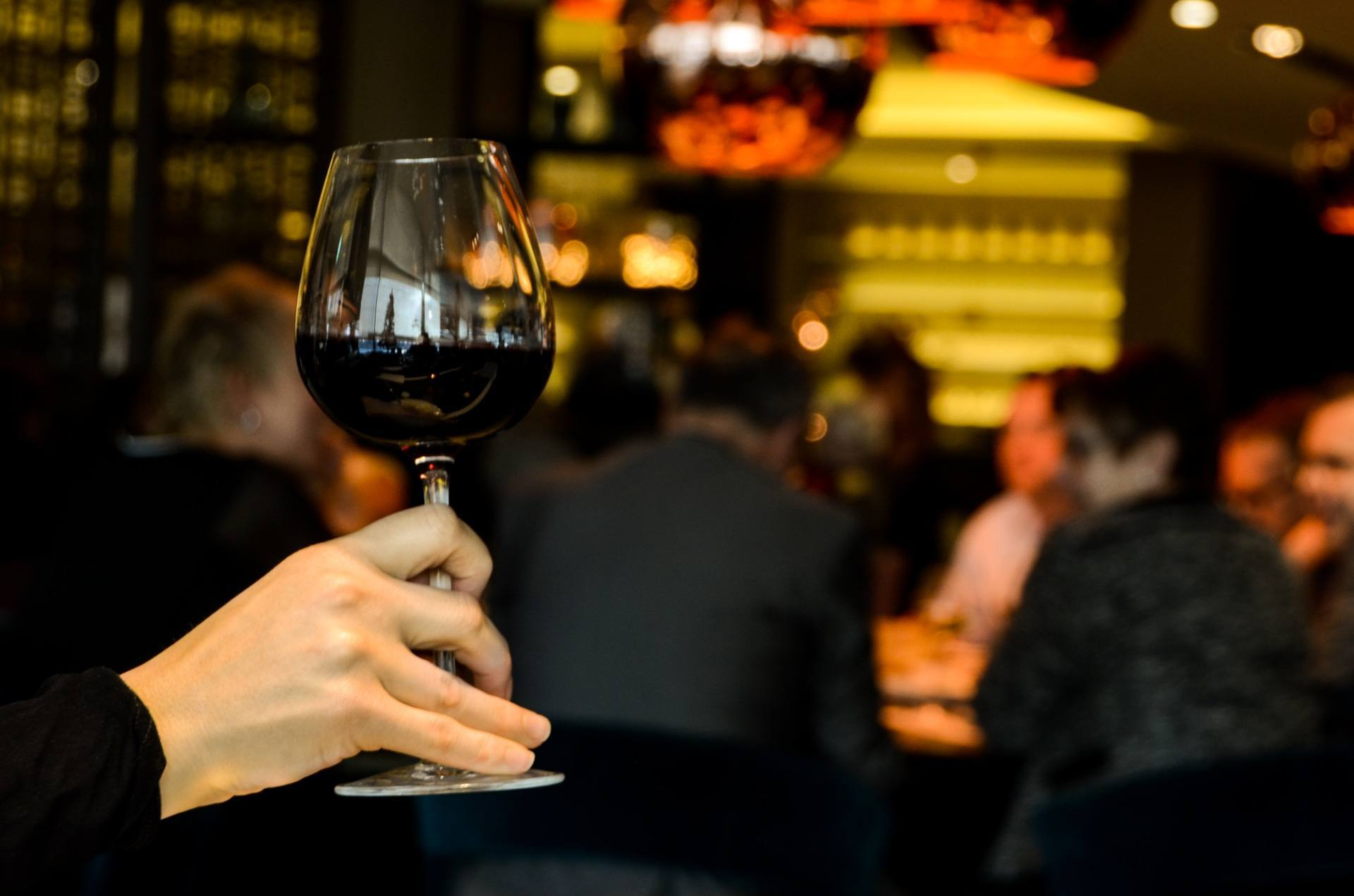 Networking event, connecting over wine